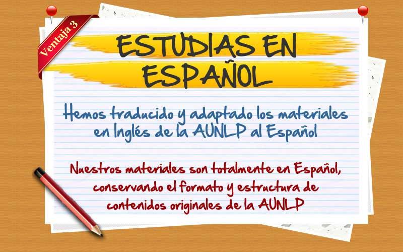 Certificado en Español. Hemos traducido los materiales de la AUNLP.
