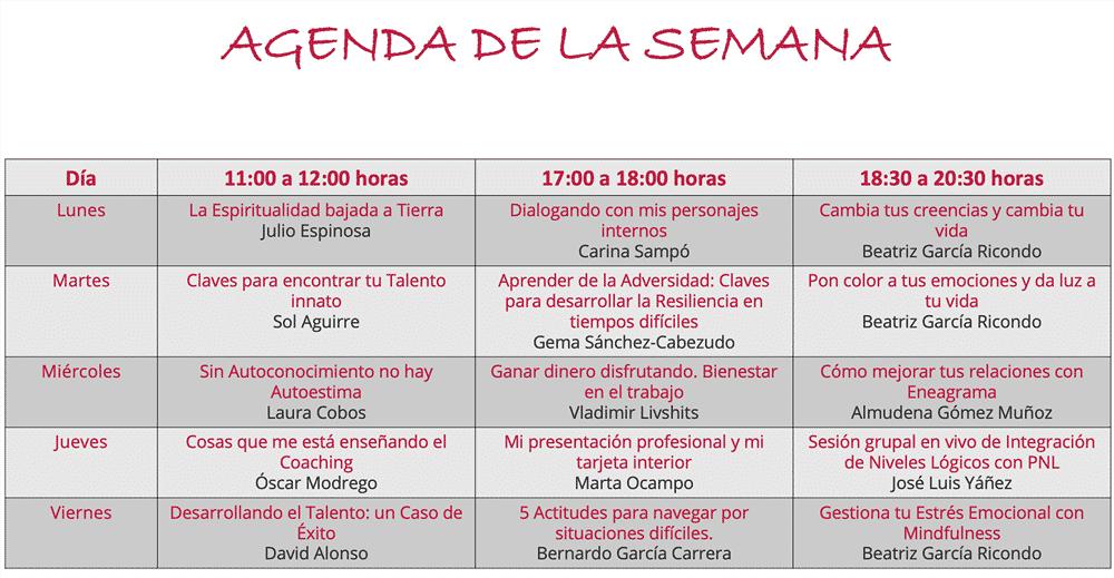Agenda Semana de Puertas abiertas en Crearte